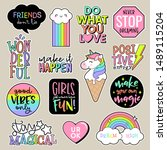 set of fashion patches  cute... | Shutterstock .eps vector #1489115204