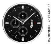 realistic black silver clock... | Shutterstock .eps vector #1489130447