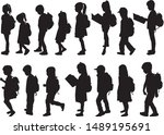 silhouette of a child with a... | Shutterstock .eps vector #1489195691