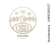 round logo of nature elements... | Shutterstock . vector #1489230317