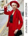 outdoor portrait of fashionable ...   Shutterstock . vector #1489231544