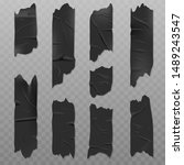 black adhesive tape realistic... | Shutterstock .eps vector #1489243547