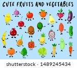 big set of vegetables and... | Shutterstock .eps vector #1489245434