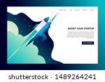 man flying with rocket to space ... | Shutterstock .eps vector #1489264241