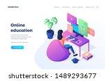 online education landing page... | Shutterstock .eps vector #1489293677