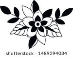 design art flower old school | Shutterstock .eps vector #1489294034