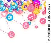 social media marketing ... | Shutterstock .eps vector #1489304681