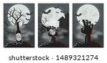 set of 3 halloween backgrounds. ... | Shutterstock .eps vector #1489321274