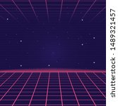 synthwave  vaporwave background ... | Shutterstock .eps vector #1489321457