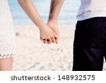 young happy couple in summer... | Shutterstock . vector #148932575