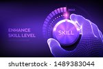 skill levels knob button.... | Shutterstock .eps vector #1489383044