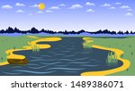 wooden boat is reflected in the ...   Shutterstock .eps vector #1489386071