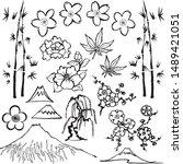 set of asian flower icons. hand ...   Shutterstock .eps vector #1489421051