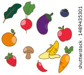 set of fruits and vegetables | Shutterstock .eps vector #1489435301
