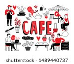 cafe and restaurant crowd and... | Shutterstock .eps vector #1489440737