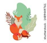foxes mammal happy autumn...   Shutterstock .eps vector #1489449761