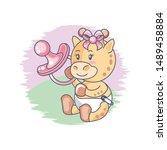 cute female giraffe baby and...   Shutterstock .eps vector #1489458884