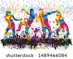 dancing people silhouettes.... | Shutterstock .eps vector #1489466084