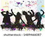 dancing people silhouettes.... | Shutterstock .eps vector #1489466087