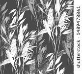 watercolor wheat ears pattern... | Shutterstock . vector #1489478861