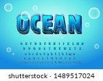 cute glossy blue water alphabet ... | Shutterstock .eps vector #1489517024