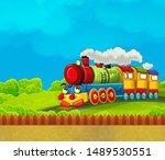 cartoon funny looking steam... | Shutterstock . vector #1489530551