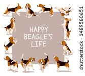 Happy Beagle Life Vector Card...