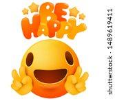 kawaii yellow emoji smile face... | Shutterstock .eps vector #1489619411