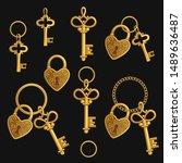 set of various golden keys... | Shutterstock .eps vector #1489636487