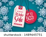 winter sale tags vector banner... | Shutterstock .eps vector #1489645751