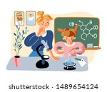 chemical experiment flat vector ... | Shutterstock .eps vector #1489654124