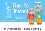 backpack elderly couple travel...