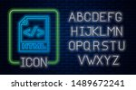 glowing neon html file document....   Shutterstock .eps vector #1489672241