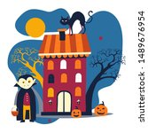 halloween holiday  dracula and... | Shutterstock .eps vector #1489676954