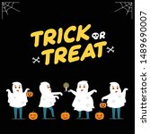 little ghost go trick or treat. ... | Shutterstock .eps vector #1489690007