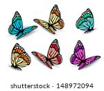 Stock vector set of realistic colorful butterflies vector 148972094