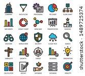 big data analytics icon set  ... | Shutterstock .eps vector #1489725374