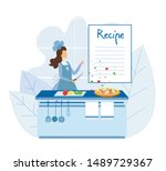 female chef cooking pizza... | Shutterstock .eps vector #1489729367