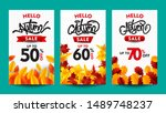 autumn sale poster collection ... | Shutterstock .eps vector #1489748237