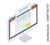 online invoice icon isometric... | Shutterstock .eps vector #1489756757