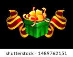 gift box with red award ribbon. ...