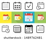 meeting deadlines icon set in... | Shutterstock .eps vector #1489762481