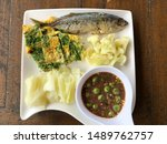 Stock photo shrimp paste sauce serve with fried mackerel vegetable and omelet with climbing wattle nam prik 1489762757