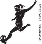 women's soccer sport action ... | Shutterstock .eps vector #1489788131