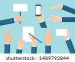 set of human hands hold placard ... | Shutterstock .eps vector #1489792844