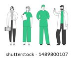 doctors and nurses in robe with ... | Shutterstock .eps vector #1489800107