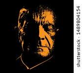 old sad man portrait silhouette ...   Shutterstock .eps vector #1489804154