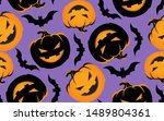 cute funny  doodle pattern... | Shutterstock .eps vector #1489804361