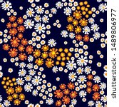 floral print with colorful... | Shutterstock .eps vector #1489806977