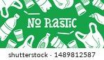 no plastic  vector flat... | Shutterstock .eps vector #1489812587